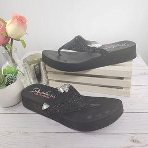 Skechers Yoga Mat Black Rhinestone Thong Sandals